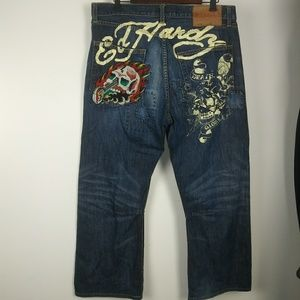 Ed Hardy button fly patch jeans size 36